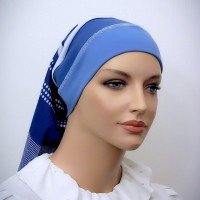 Blue White Headband Snood