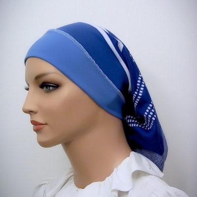 Blue White Headband Snood