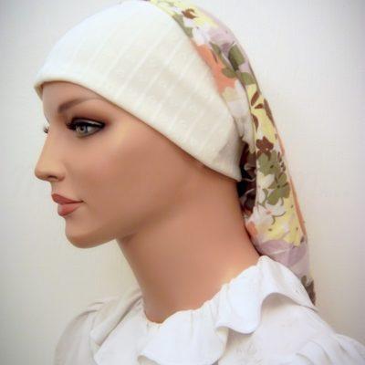 Cream Floral Headband Snood