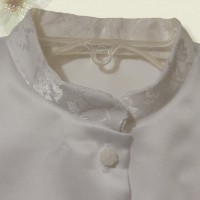 White Jacquard Mandarin Collar on Poly Satiin5