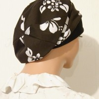 2015 Black Floral Poplin Summer Snood Beret_04