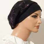 2015 Embroidered Black Floral Summer Snood Beret_01