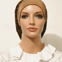 2015 Brown Gold Floral Slinky Snood Beret_01