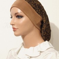 2015 Brown Gold Floral Slinky Snood Beret_07