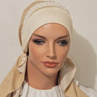 2015 Cream Houndstooth Braided Elastic Trim HEadband_02