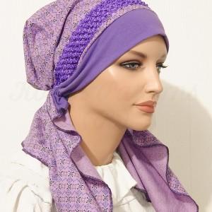 2015 Purple Geometric Print Braided Elastic Headband_05