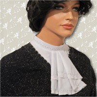 Batiste Embroidered Mandarin Collar Jabot 03
