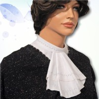 Cotton Embroidered Mandarin Collar Jabot 02