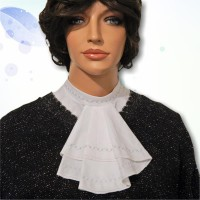 Cotton Embroidered Mandarin Collar Jabot 03