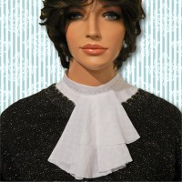 Lace Embroidered Mandarin Collar Jabot 02