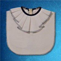 Blue White Jabot Collar Zipper Back 01