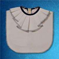 Blue White Jabot Collar Zipper Back 01