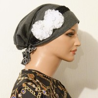 All Cotton Gray Pre-tied Snood with Floral and Braided Trim