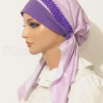 Light Purple Pretied Bandanna Snood Braided Elastic Trim
