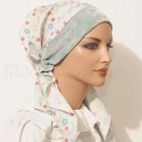 Pretied Bandanna Snood Mint Jacquard Headband Floral Print