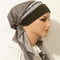 Pretied Bandanna Snood Gray Feather Print Black-Silver Pearl Braided Trim