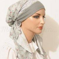 Pretied Bandanna Snood Sage Headband Lace White-Silver Braided Trim