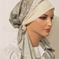 Pretied Bandanna Snood Gray Floral Trim