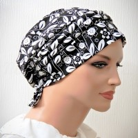 Moriya Snood Beret Piping Ties Floral Cotton