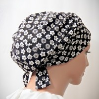Moriya Snood Piping Ties Black white Geometric Print