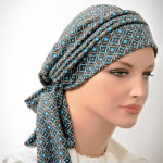 Moriya Snood Blue Geometric Circles Knit Tails 2-1