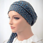 Moriya Snood Blue Geometric Circles Knit Tails 3-1