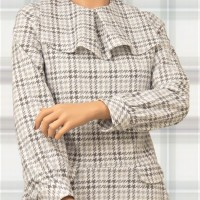 Modest Drop Waist Flannel Houndstooth Dress 2