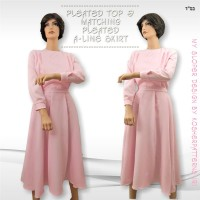 Pleated A-line Skirt Pink 3