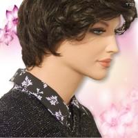 Purple Mint Leaves on Black Shirt Collar Back Zip Dickey 02