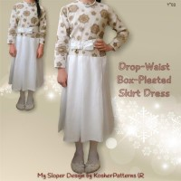 Drop Waist Box Pleated Skirt Dress 01-1