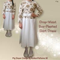 Drop Waist Box Pleated Skirt Dress 01-1