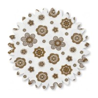 Tan Flowers on White Swirls Cotton 45-in 1