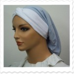 Embroidered Light Blue Knotted Headband Snood1-sml