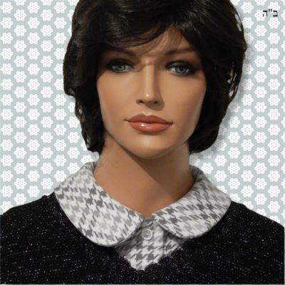 Grey Houndstooth Feminine Full Roll Collar Dickey 2