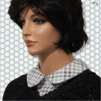Grey Houndstooth Feminine Full Roll Collar Dickey 5