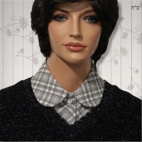Grey Plaid Convertible Collar Dickey 2