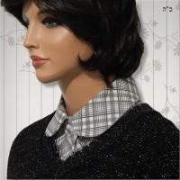 Grey Plaid Convertible Collar Dickey 5