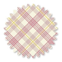 Pink Yellow on White Diagonal Plaid Cotton 1