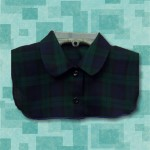Rounded Blouse Collar Blue-Green-Black Plaid Dickey1