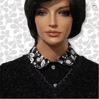 White Floral on Black Peter Pan Collar Dickey 02