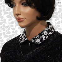 White Floral on Black Peter Pan Collar Dickey 05