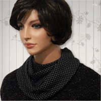White Polka Dots on Black Cowl Collar Dickey 04