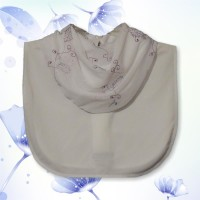 White Purple Mesh Embroidered Cowl Collar Dickey 01