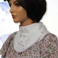 White Purple Mesh Embroidered Cowl Collar Dickey 03