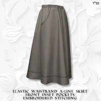 Embroidered Stitching Front Inset Pocket A-line Skirt 02