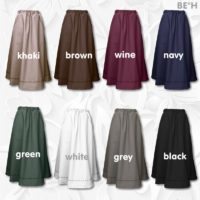Fabric Embroidered Stitching Front Inset Pocket Skirt 01