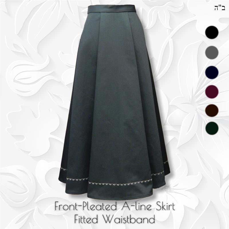b3fe24339 Front Pleated Aline Long Skirt - Modest Anytime