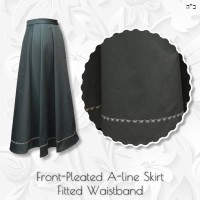 Front-Pleated Twill A-line Skirt