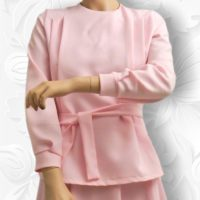 Pleated Shoulder Blouse with Ties 4