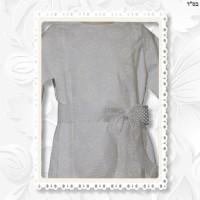 White Lined Cotton Print A-line Panel Dress
